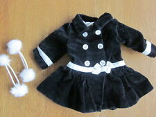 American Girl JLY Black White Victorian Velveteen Coat & 2 Ponytail Holders