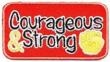 Girl Boy Cub COURAGEOUS AND STRONG Fun Patches Crests Badges SCOUT GUIDE Emoji