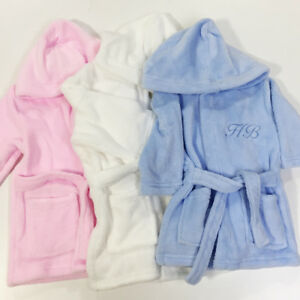 Embroidered Personalised Baby Bath Robe Dressing Gown Initials Gift Monogram