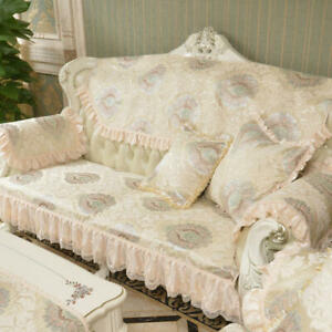 Luxury Lace Sofa Cover 3 Seater Slipcover Couch Recliner Anti-slip Protector Mat