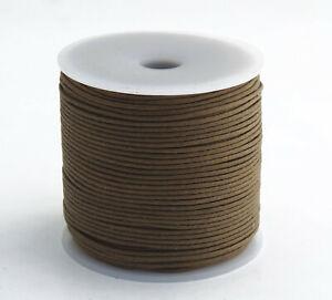 100m Baumwollband (0,06 €/1m) braun 1,5 mm rund poliert gewachst Rolle/Spule