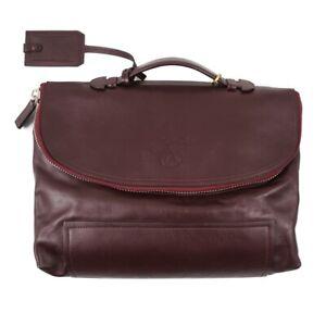 NWT $1225 CANALI Medium-Sized Soft Burgundy Calf Leather Briefcase Bag