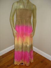 NWT $88  Tye Dye Tube Top Halter/Strapless  Long Dress Womens XS