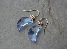 Light sapphire blue crystal crescent moon earrings- 14k gold filled earwires