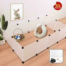 Plastic Pet Playpen W/ Bottom Panels Rabbit Guinea Pig Hamster Bunnie Fence Cage