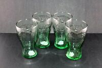 Lot of 4 Coca Cola Collectible Glass 17.2 oz Pint Glasses Green