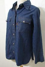 Vintage LEVIS Ladies Long Sleeve Denim Shirt Snap Button USA Paper Wash Tag