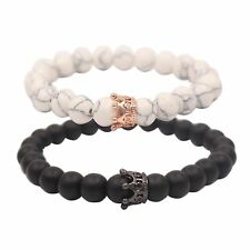 2PCS Distance Couple Bracelet with CZ Crown King&Queen Black Matte Agate & White