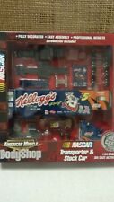 2001 AMERICAN MUSCLE 1:64 SCALE  BODY SHOP NASCAR TRANSPORTER & STOCK CAR