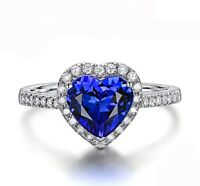18K Rose Gold GP Green GEM Austrian Crystal Love Heart Lady bridal Ring R17f