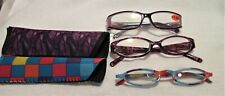 Women's Reading Glasses 3 Pair 1.50 Strength Purple & Blue Checked Pairs