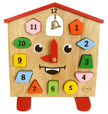 Quality Wooden Clock puzzle Toys Learn time Algebra numbers Colours Shapes kids