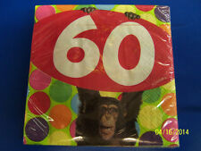 Monkey Around Go Wild Over the Hill 60th Birthday Party Paper Beverage Napkins