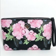 Betsey Johnson Cosmetic Wristlet Travel Bag Large Size Black Floral NEW PACKAGED