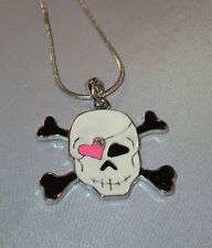"""Skull Crossbones Necklace Pink Heart Eye Patch Black White Silver Tone 15"""" New"""