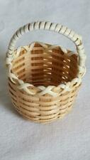 "VINTAGE WICKER NATURAL DECORATIVE BASKET DOLLHOUSE MINIATURE,WOVEN,STRAW,1.5""T"