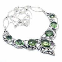 "Green Amethyst Gemstone Handmade 925 Sterling Silver Jewelry Necklace 18"" WJ"