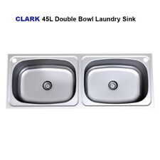 CLARK 8710 Double Bowl 45L Flushline Laundry Trough Inset TUB Sink 1244 x 470 mm
