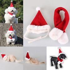 2PCS Pet Cat Dog Santa Hat + Scarf Christmas Xmas Red Holiday Costume Apparel QC