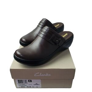 Clarks Women Clogs Delana Amber Brown Leather Slip On Comfort Size 9.5M