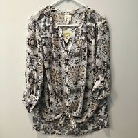 Fig and Flower Anthropologie Sz 1X Peasant Geometric Sheer Boho Blouse Front Tie