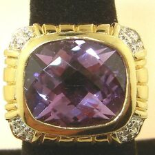 Huge 7.21ct Checkerboard AMETHYST 14K on Sterling Silver .925 sz 7 Ring 12.5grms