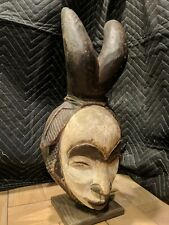 Punu Maiden Spirit Mask with Horns and Display Stand — Authentic African Art