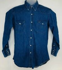 Vtg Wrangler Denim Shirt Western Pearl Snap Extra Long Tails Pre Shrunk 16.5 33