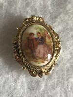 1980s Ceramic Brooch Tudor Scene Print Jewellery Jewelry Vintage Retro Pin Old