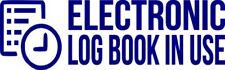 """Set Of 2 NAVY """"E-Log Device in Use"""" Electronic Log Book Decal Sticker Truck ELD"""