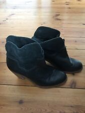 H By Hudson Black Horrigan Leather Ankle Boots Strap Buckle  Shoes 3 36 4 37 New
