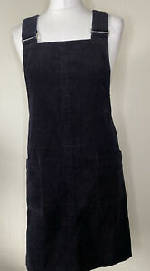 New Look Black Cord Pinafore Dungaree Dress Size 10 Front Pickets