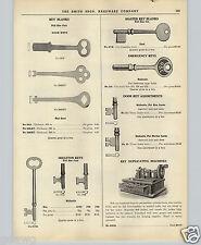 1951 PAPER AD Corbin Key Cutting Duplicating Machine Hand Motor