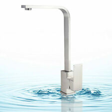 Lead Free Kitchen Sink Tap Square Hot Cold Mixer Faucet Brushed Stainless Steel