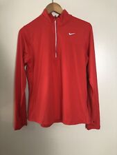 Nike Dry Womens Element 1/2 Zip Pullover Running Top Red Large L