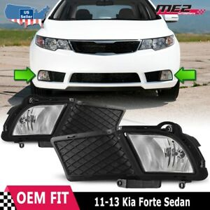 For Kia Forte 10-12 Factory Bumper Replacement Fit Fog Lights DOT Clear Lens