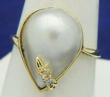 MOTHER OF PEARL & DIAMOND ACCENTS RING SOLID 14 K GOLD 3.9 g SIZE 9.25