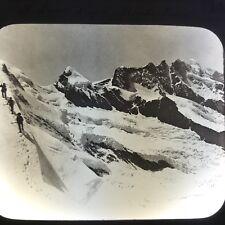 Snow Slow Monte Rosa Swiss Alps C1900 Antique Magic Lantern Glass Slide Photo