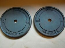 2 x 10 kg YORK BARBELL Cast Iron Weight Plates 30mm Hole (20kg Total)