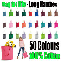Shopping Bag Bright tote long handle Bag for Life Cotton