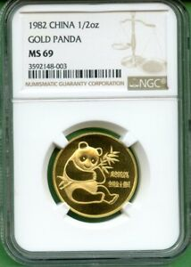 PANDA  GOLD    1982   1/2 OZ   CHINA    NGC  MS 69