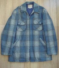 Vtg 40s 50s CHIPPEWA Blue Wool Plaid Car Coat Tartan Workwear Jacket Sz 42 RARE