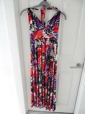 LADIES SUMMER FULL LENGTH HALTERNECK PATTERNED MAXI DRESS SIZE 10