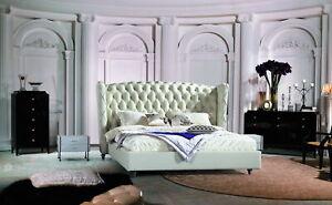 Lujo Diseñador Cama Chesterfield Cuero Tapizada Dormitorio Compromiso