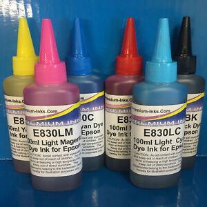 6x100ml Printer Refill Ink Bottles For Epson Stylus Photo R1400 R1500 W Non OEM