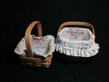 Longaberger 2004 square baskets, Mixed Bouquet Flower liners combo, pair