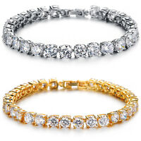Women's Bracelet, White Gold Plated Round Cubic Zirconia Tennis Bracelet