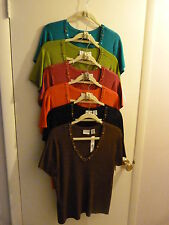 (7)COLORS KIM ROGERS S/S V-NECK EMBELLISH-LARGE-NWT-LIGHT KNIT-6+BONUS DARK PINK