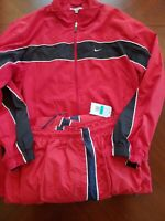 Vintage Nike Track Suit RED-BLACK Stripe/WHITE PIPING - Size XL