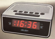 Bush Red LED 1.5cm Display Alarm Clock Radio AM/FM Snooze Sleep Silver C